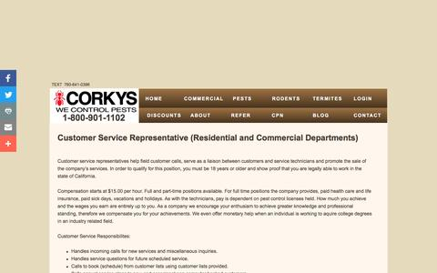 Screenshot of Support Page corkyspest.com - Corky's Pest Control | Employment - captured Nov. 5, 2016