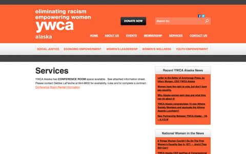 Screenshot of Services Page ywcaak.org - Services - YWCA Alaska - captured Oct. 1, 2014