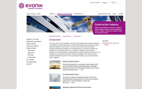 Construction - Evonik Industries - Specialty Chemicals