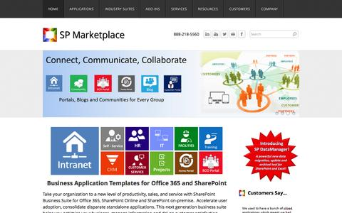Screenshot of Home Page spmarketplace.com - SP Marketplace - Business Applications and Templates for Office 365 and SharePoint - captured Dec. 19, 2015