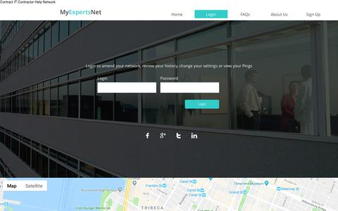 Screenshot of Login Page myexpertsnet.com - Contact - captured Nov. 2, 2018