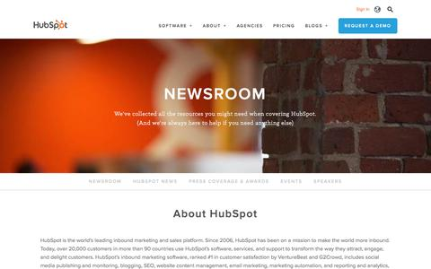Screenshot of Press Page hubspot.com - HubSpot Newsroom - captured Oct. 29, 2016