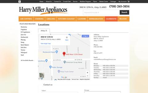 Screenshot of Contact Page Locations Page harrymillerappliances.com - Contact Harry Miller Appliances in Illinois - captured Feb. 2, 2018