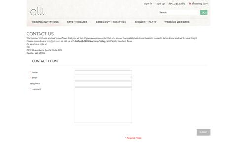 Screenshot of Contact Page elli.com - Contact Us - captured Sept. 27, 2017
