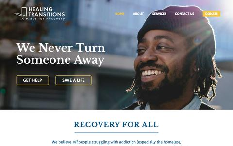 Screenshot of Home Page healing-transitions.org - Healing Transitions | Formerly the Healing Place of Wake County - captured Dec. 5, 2018