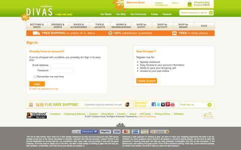 Screenshot of Login Page outdoordivas.com - Sign In  - Outdoor Divas - captured Oct. 26, 2014