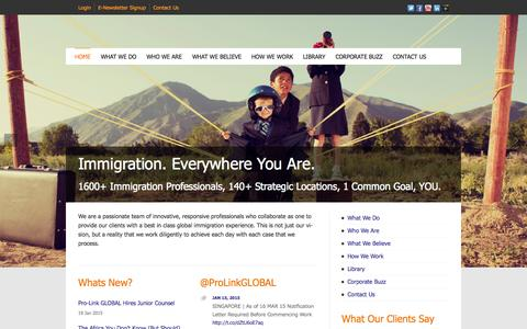 Screenshot of Home Page pro-linkglobal.com - Pro-Link GLOBAL | Corporate Global Visa & Immigration Services - captured Jan. 21, 2015