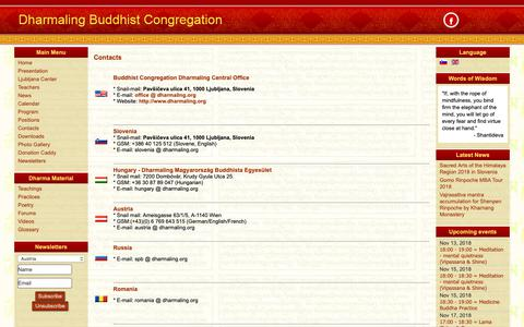 Screenshot of Contact Page dharmaling.org - Contacts - captured Nov. 14, 2018
