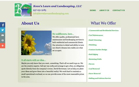Screenshot of About Page koveslawnandlandscaping.com - Kove's Lawn and Landscaping About Us - captured Oct. 6, 2014
