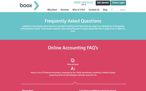Screenshot of FAQ Page boox.co.uk - Frequently Asked Questions - Boox - Online Accounting - captured Sept. 19, 2014