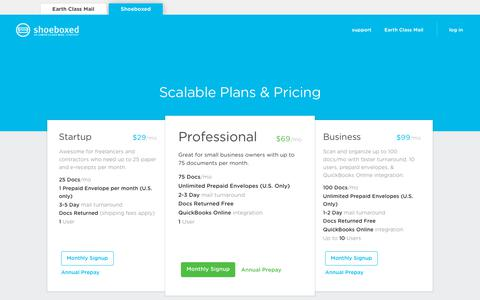 Screenshot of Pricing Page shoeboxed.com - Shoeboxed | Painless Receipt Scanning & Expense Tracking - captured Feb. 22, 2019