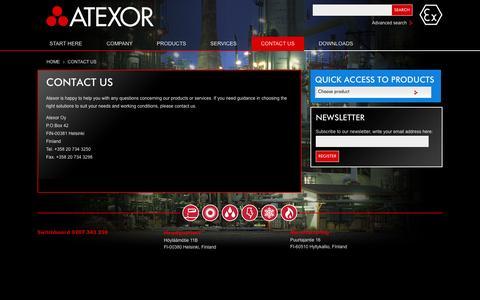 Screenshot of Contact Page atexor.com - Atexor Oy - Contact us - captured Oct. 4, 2014