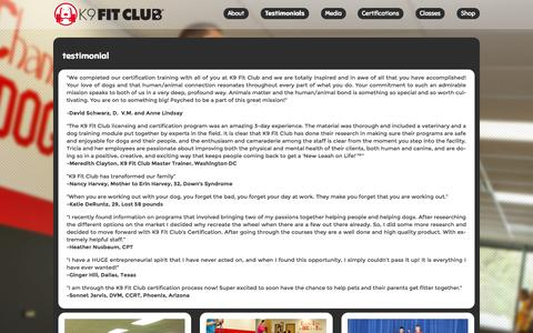 Screenshot of Testimonials Page k9fitclub.com - Testimonials   K9FitClub – Health and Wellness for both Dogs and People. - captured Nov. 3, 2014