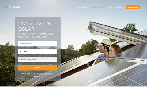 Screenshot of Signup Page joinmosaic.com - Invest in Solar | Clean Energy Investment with Mosaic - captured Nov. 18, 2015