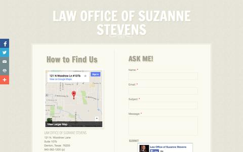Screenshot of Privacy Page Contact Page stevenstexaslaw.com - Contact - captured Oct. 22, 2014