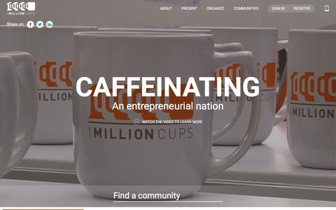 Screenshot of Home Page 1millioncups.com - Home | Caffeinating an entrepreneurial nation | 1MillionCups.com - captured Sept. 25, 2018