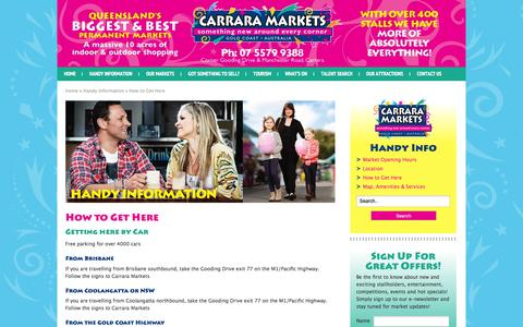 Screenshot of Maps & Directions Page carraramarkets.com.au - Carrara Markets Directions, Car, Public Transport - captured June 11, 2016