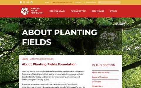 Screenshot of About Page plantingfields.org - About Planting Fields – Planting Fields Foundation - captured Sept. 28, 2018