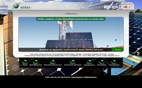 Screenshot of Home Page aldar.com.ar - Aldar S.A. - Desarrollo de soluciones energéticas sustentables - captured Oct. 4, 2014