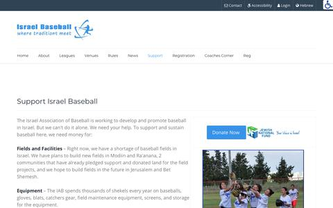 Screenshot of Support Page baseball.org.il - IAB - Israel Association of Baseball  - Support - captured May 24, 2018
