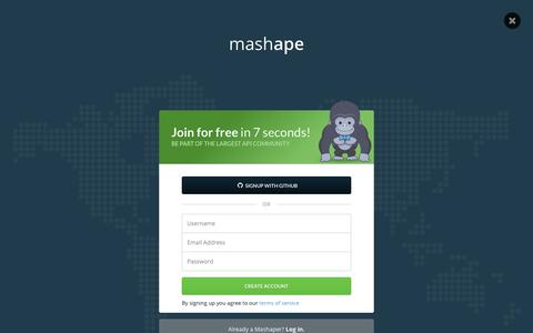Screenshot of Signup Page mashape.com - Mashape - Free API Management Platform & Marketplace - captured Oct. 28, 2014