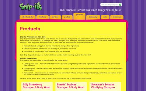 Screenshot of Products Page snipits.com - Products - Snip-its - captured Jan. 17, 2016