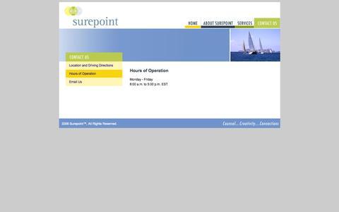 Screenshot of Hours Page surepointadvisors.com - Surepoint : Advisory Services - captured Nov. 5, 2014