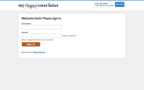 Screenshot of Login Page myperfectcoverletter.com - Sign-In | Welcome Back! | LiveCareer - captured Oct. 26, 2014