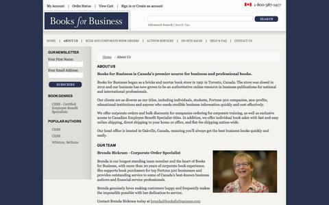 Screenshot of About Page booksforbusiness.com - About Books For Business - captured Oct. 5, 2014