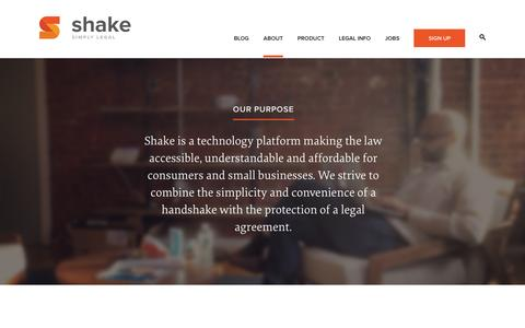 Screenshot of About Page shakelaw.com - About - Shake | Free Legal Contracts - captured Sept. 17, 2014