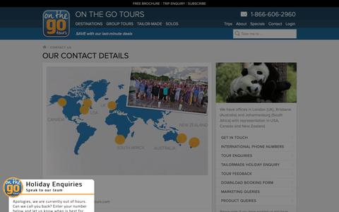 Screenshot of Contact Page onthegotours.com - Contact Us | On The Go Tours - captured Dec. 10, 2018