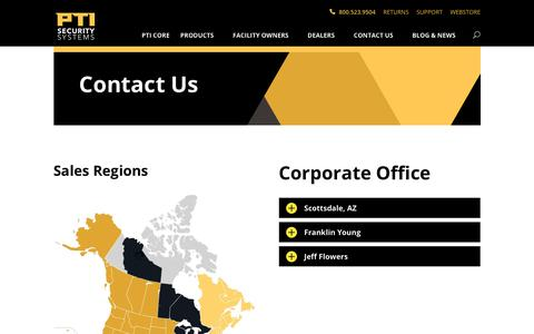 Screenshot of Contact Page ptisecurity.com - Contact Us - PTI Security Systems - captured Oct. 21, 2018