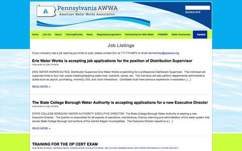 Screenshot of Jobs Page paawwa.org - Job Listings | American Water Works Association - Pennsylvania Section - captured Feb. 18, 2018