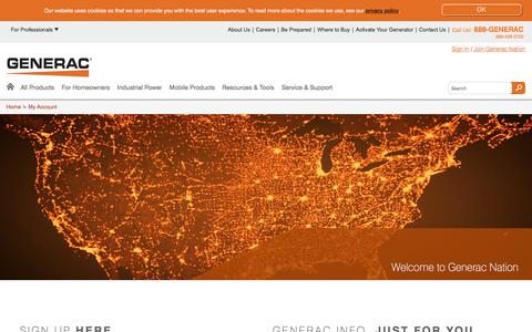 Screenshot of Signup Page generac.com - Generac Power Systems - My Account - captured April 19, 2018