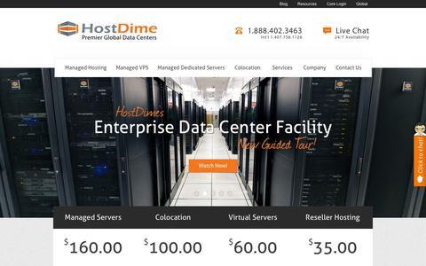 Screenshot of Home Page hostdime.com - HostDime: Managed Dedicated Servers, Managed Cloud Hosting - captured Sept. 21, 2015