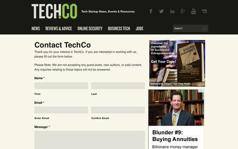 Screenshot of Contact Page tech.co - Contact TechCo - Tech.Co - captured July 13, 2018
