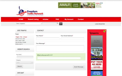 Screenshot of Contact Page freedomtrafficnetwork.com - Contact - Freedom Traffic Network Freedom Traffic Network - captured Oct. 31, 2014