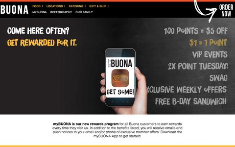 Screenshot of Signup Page buona.com - Buona Beef | myBUONA Rewards Program - captured Nov. 23, 2016
