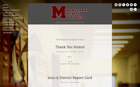 Screenshot of Press Page monteschools.org - Mr. Winter's Update — Montesano School District - captured Feb. 14, 2016