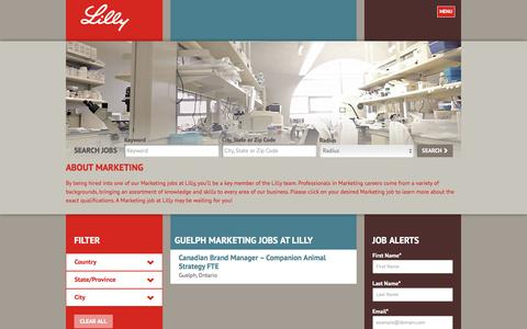 Screenshot of Jobs Page lilly.com - Guelph Marketing Jobs at Lilly - captured Aug. 7, 2017
