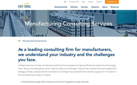 Screenshot of Services Page envistacorp.com - Manufacturing Consulting Services | enVista Supply Chain Solutions - captured Feb. 20, 2020