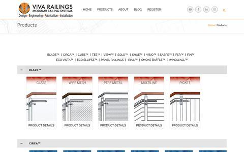 Screenshot of Products Page vivarailings.com - Products | VIVA Railings - captured May 23, 2018