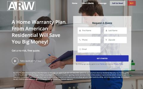 Screenshot of Home Page arwhome.com - American Residential Warranty, Your Home Warranty Provider! - captured Oct. 24, 2018