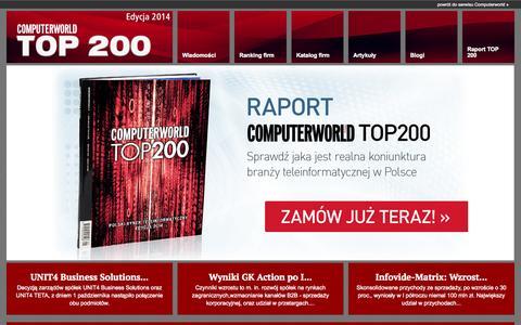 Screenshot of Jobs Page Terms Page Developers Page computerworld.pl - Strona główna - Ranking Computerworld TOP200 największych firm IT w Polsce - captured Oct. 22, 2014