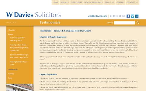 Screenshot of Testimonials Page wdavies.com - Testimonials - W Davies Solicitors in Woking Surrey - captured Dec. 2, 2016