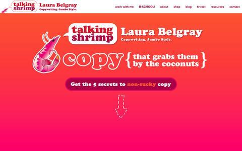 Screenshot of Home Page talkingshrimp.com - Talking Shrimp — Copywriting. Jumbo Style. - captured Feb. 14, 2016