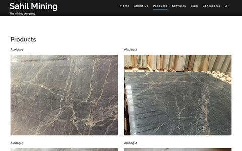 Screenshot of Products Page sahilmining.com - Products – Sahil Mining - captured July 22, 2016