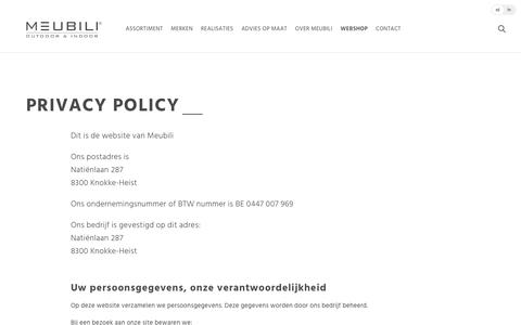 Screenshot of Privacy Page meubili.be - Privacy Policy | Meubili - captured June 10, 2017
