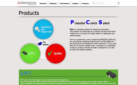 Screenshot of Products Page proventustech.com - Proventus Technologies | Products - captured Nov. 14, 2016