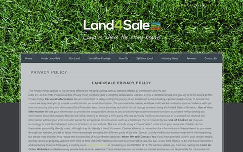 Screenshot of Privacy Page land4salewa.com.au - Privacy Policy - Land4Sale   Land is our BusinessLand4Sale   Land is our Business - captured Oct. 20, 2016